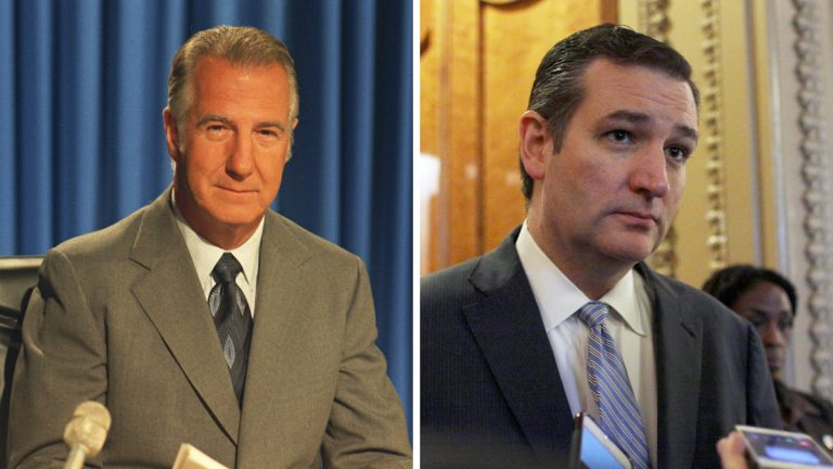 Left: Spiro Agnew is shown on Oct. 15, 1973 after his address to the nation following his resignation as vice President. (AP Photo)  Right: Sen. Ted Cruz (R-Texas) talks to reporters on Capitol Hill in 2014. (AP Photo/Lauren Victoria Burke)