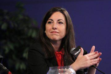 Melissa Murray Bailey takes part in a debate last week at WHYY. (Emma Lee/NewsWorks)