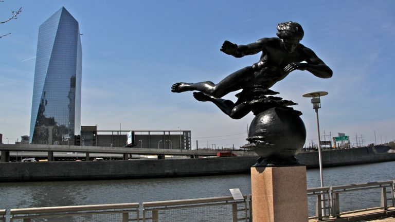 Air by sculptor Walker Hancock is on display at the Schuylkill Banks at the Cherry Street overlook after 15 years in a city storage facility. (Emma Lee/WHYY