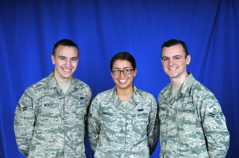 (From left) Airman 1st Class Ryan Weber, Airman 1st Class Sharon Dominguez, and Airman 1st Class Luke McFadden. (Photo courtesy of Delaware Air National Guard)
