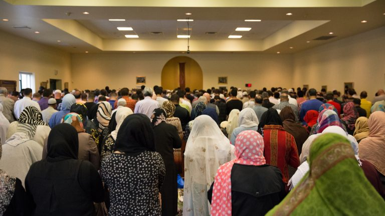 Worshippers gather at the Muslim Association of Lehigh Valley in Whitehall, Pennsylvania.  Allentown has one of the largest Syrian populations in the U.S., and Syrian refugees are expected to resettle in the region.  (Lindsay Lazarski/WHYY)