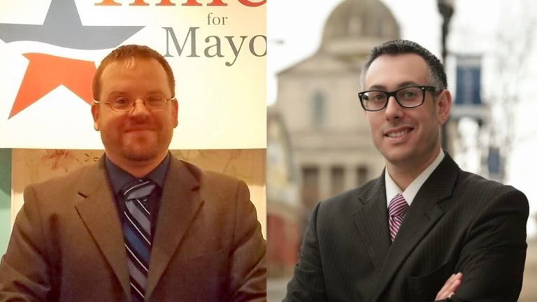 Democrat challenger Jason Imler (left) or Republican incumbent Matt Pacifico will become Altoona's first full-time mayor in 25 years.  (Images courtesy of the candidates)