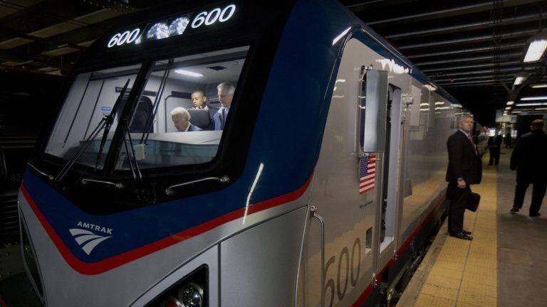 Vice President Joe Biden tours Amtrak's new Cities Sprinter electric locomotive at 30th Street Station in Philadelphia. (AP Photo/Matt Rourke)