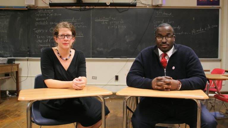 Feltonville Arts and Sciences teacher Amy Roat and Central High School history teacher Yaasiyn Muhammad are challenging the old guard within the Philadelphia Federation of Teachers. (Emma Lee/WHYY)