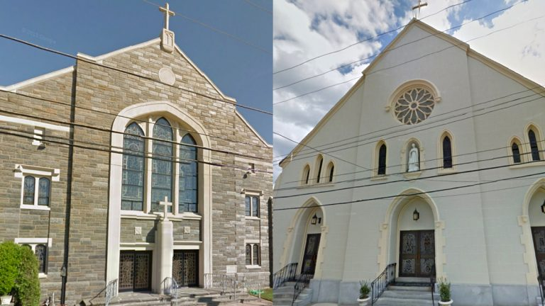 Sacred Heart (left) and St. Charles Borromeo churches have been added to the Parish Area Pastoral Planning Initiative in the Archdiocese of Philadelphia. The two neighboring Delaware County parishes may end up sharing some or all of their ministries to reduce costs as a result of that initative. (<a href=