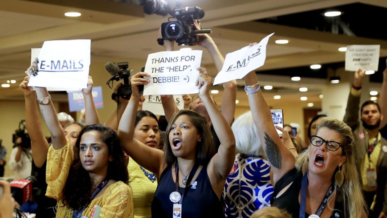 Protesters yell as DNC Chairwoman