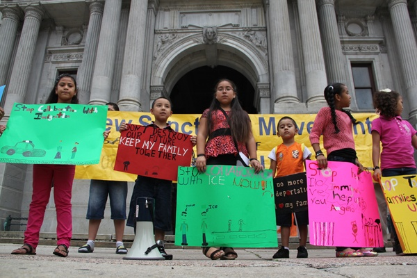 Children of undocumented immigrants rally at City Hall in August 2013. (Emma Lee/for NewsWorks)