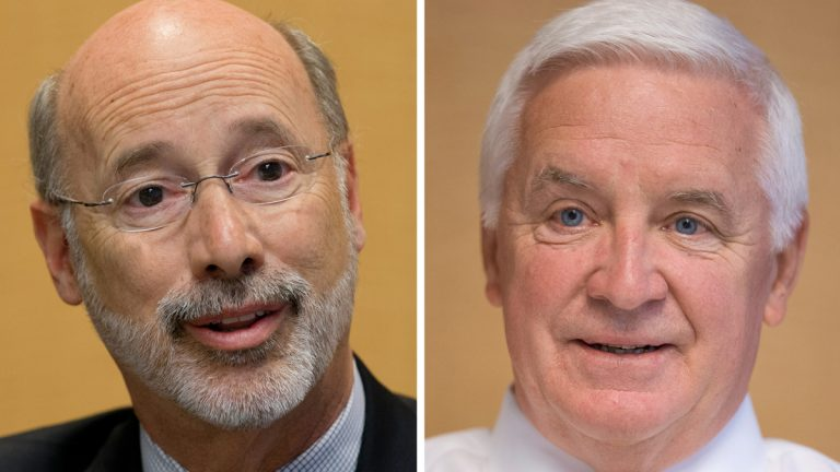 In this combination of 2014 file photos, Pennsylvania gubernatorial candidates Democrat Tom Wolf, left, and Republican Gov. Tom Corbett are shown in Philadelphia. (AP Photo/Matt Rourke, File)