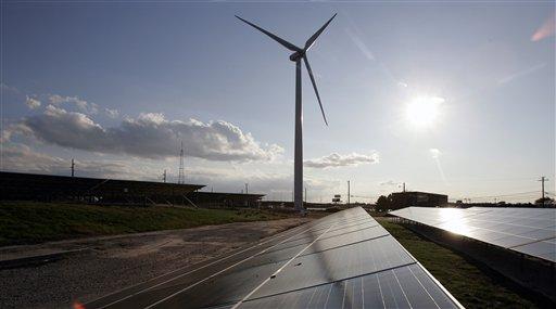 A windmill and solar array in Atlantic City. (Mel Evans/AP Photo)