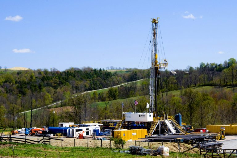 A Chesapeake Energy natural gas well site is seen near Burlington
