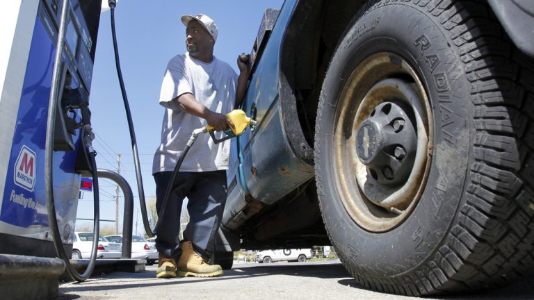 The average cost for a gallon of regular in New Jersey is now $3.23, the lowest for a Labor Day weekend in four years. (AP file photo)
