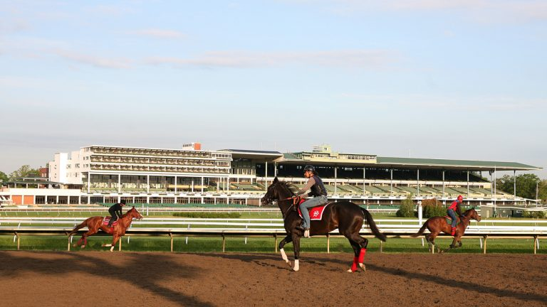 Thoroughbreds gallop on the track at Monmouth Park in Oceanport, New Jersey, where sports betting could begin by next week. (AP file photo/EQUI-PHOTO)