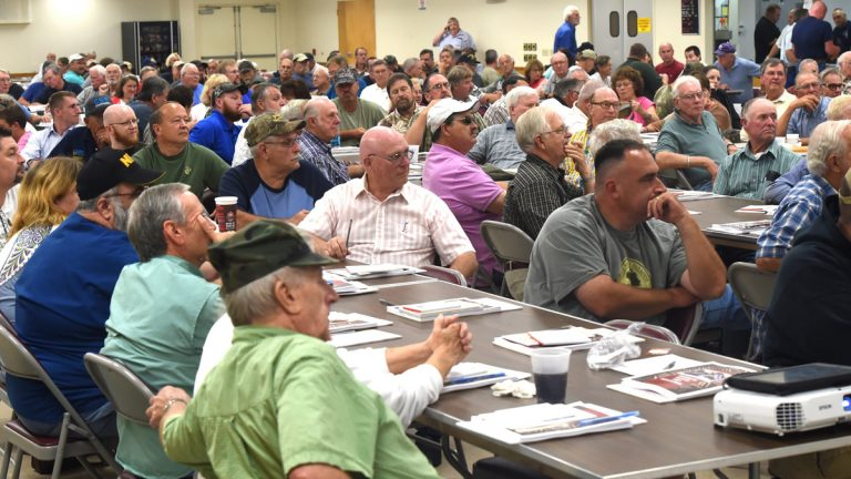 Hundreds take part in a forum about gun rights in Pennsylvania during the Firearms Safety and Rights Seminar at the Fayetteville Volunteer Fire Company Social Hall this month. (Ryan Blackwell/Public Opinion/AP)