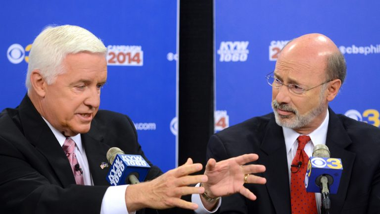Republican Gov. Tom Corbett, (left), and Democratic challenger Tom Wolf take part in a debate at 'Breakfast with the Candidates' event at KYW-TV and KYW-AM on Wednesday, Oct. 1, 2014 in Philadelphia (Tom Gralish, Pool/AP Photo/The Philadelphia Inquirer)