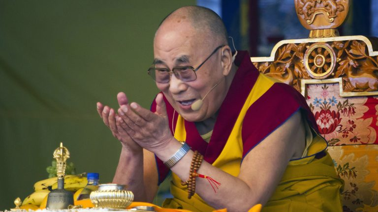 Tibetan spiritual leader the Dalai Lama gestures as he talks during a special ritual ceremony at the Tibetan Children's Village School in Dharmsala, India, last month. He will be in Philadelphia in October to accept the National Constitution Center's Liberty Award. (AP photo, file)