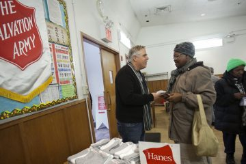 'Giving Tuesday' at a Salvation Army location in New York City. (Photo by Carlo Allegri for Hanes)