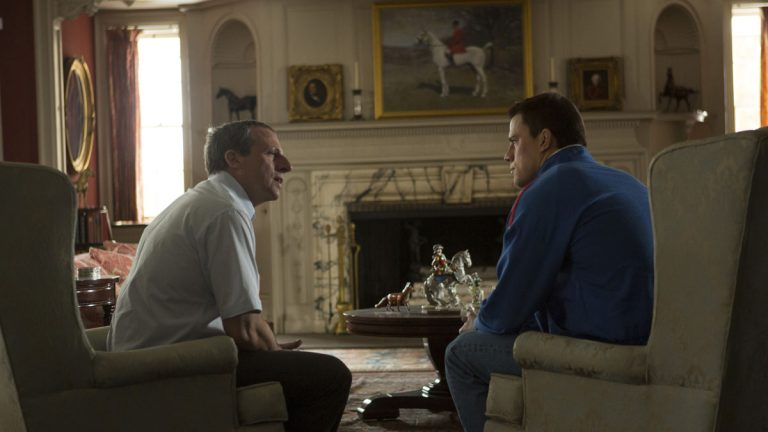 This image released by Sony Pictures Classics shows Steve Carell, left, and Channing Tatum in a scene from 'Foxcatcher.' (AP Photo/Sony Pictures Classics, Scott Garfield)