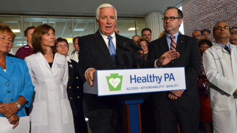 The U.S. government has approved a plan by Gov. Tom Corbett to provide health coverage to an estimated 600,000 Medicaid-eligible Pennsylvanians. Corbett is shown in September introducing his Health PA alternative to Medicaid expansion.(AP file photo)