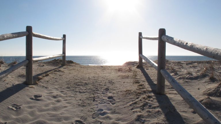 Railings lead the way to the ocean over a newly rebuilt sand dune in Harvey Cedars. A New Jersey jury has awarded a Harvey Cedars couple $300 as compensation for losing their ocean view due to construction of the protective dunes. They were seeking $600,000.(AP file photo/Wayne Parry)