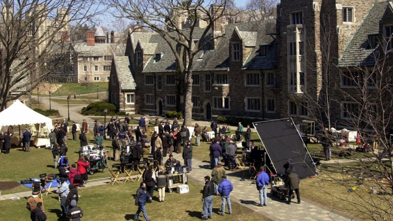 A film crew sets up for an outdoor scene in 'A Beautiful Mind' on the campus of Princeton University in New Jersey. A state lawmaker wants to revive a film-production tax credit to bring more moviemaking to the state.(AP file photo)