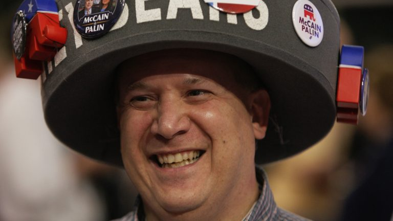 Pennsylvania delegate Dan Daub of Tower City smiles from the floor of the Republican National Convention in St. Paul