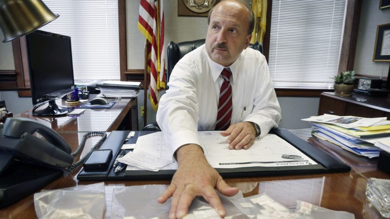 Ocean County, New Jersey, Prosecutor Joseph D. Coronato talks about packets of confiscated heroin in 2013. Since then, heroin use and overdose deaths have continued to rise across the country and particularly in New Jersey. (AP file photo)