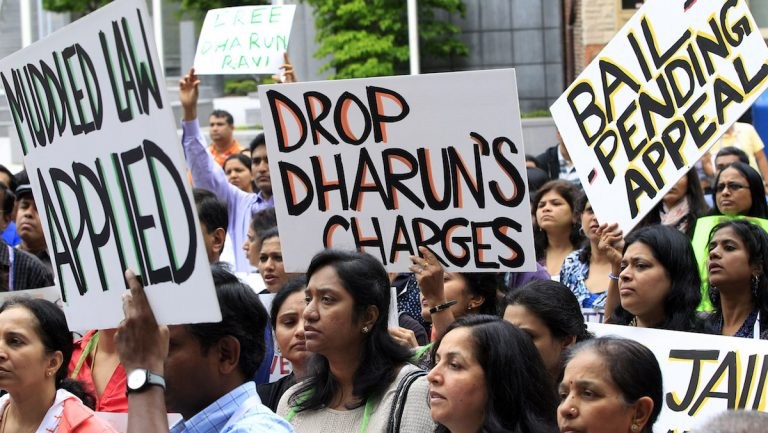 Several hundred supporters rally in front of the New Jersey Statehouse in Trenton in 2012 on behalf of Dharun Ravi