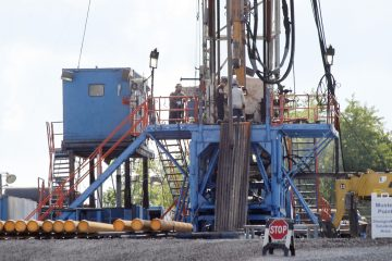A crew works on a drilling rig at a well site for shale-based natural gas in Zelienople, Pennsylvania,  in 2012. A plan for a severance tax on drillers had advanced in the state House.. (AP file photo)
