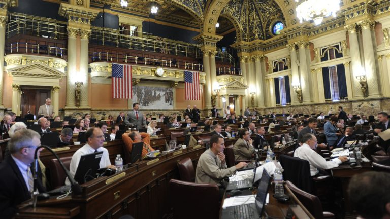 Members of the Pennsylvania House of Representatives meet to work on the state budget in 2012. Pennsylvania has the largest full-time legislature in the country, with 253 state lawmakers.  (AP photo/Bradley C Bower)