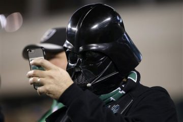 A fan dresses as Darth Vader for last Sunday's Eagles game.(AP Photo/Matt Rourke)