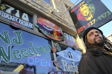 Ed Forchion, a pro-marijuana activist known as NJ Weedman, in front of his store in Trenton. (AP Photo)