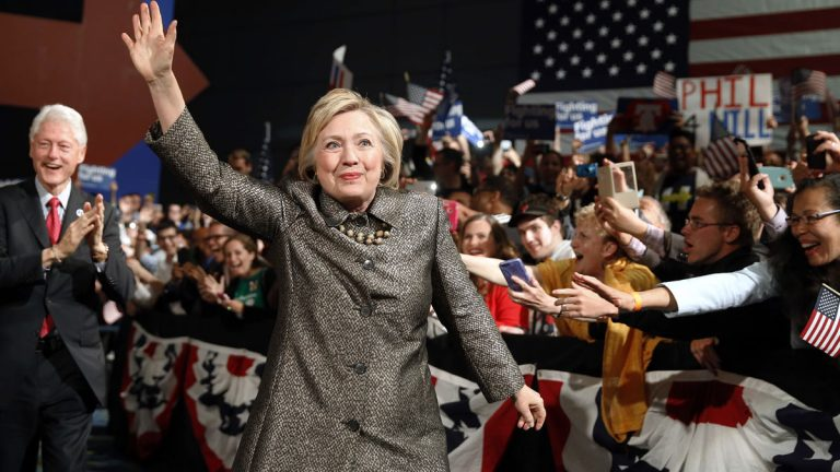 A new Fairleigh Dickinson University poll finds that 71 percent of voters believe Hillary Clinton has broken the glass ceiling for more women to become leading presidential candidates in future elections. (AP photo/Matt Rourke)