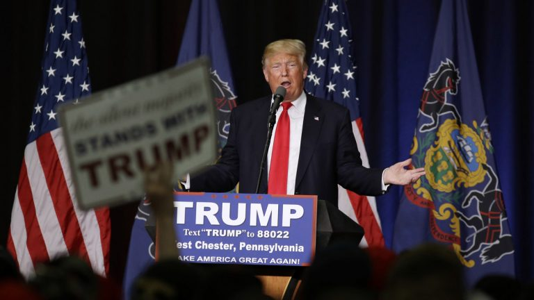 Donald Trump fires up the crowd during a spring  appearance in West Chester