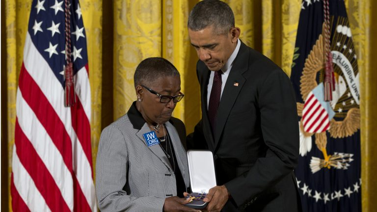 President Barack Obama presents Constance Wilson