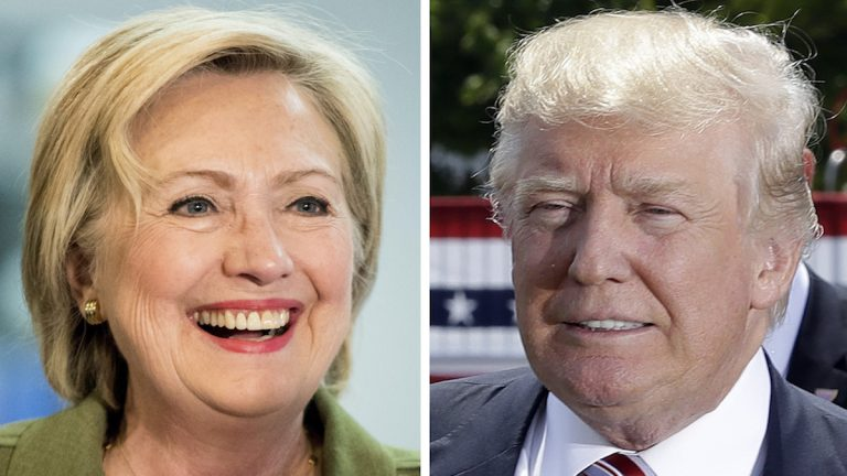 Democratic presidential candidate Hillary Clinton and Republican presidential candidate Donald Trump in 2016 photos. (AP Photo)