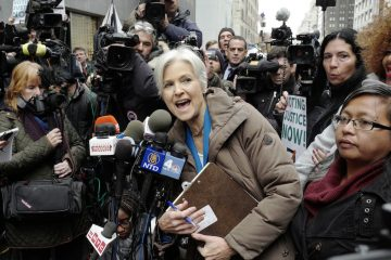 Green Party presidential candidate Jill Stein speaks with reporters outside the federal courthouse in Philadelphia where a judge heard arguments on her bid for a recount of presidential votes. (Emma Lee/WHYY)