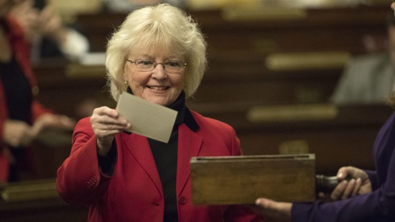 Elector Tina Pickett casts her ballot during Pennsylvania's 58th Electoral College at the state Capitol in Harrisburg Monday. Members of Pennsylvania's 58th Electoral College met at the state Capitol amid demonstrations by hundreds of protesters to cast the state's 20 electoral votes for President-elect Donald Trump. Trump beat Democrat Hillary Clinton in Pennsylvania by fewer than 45