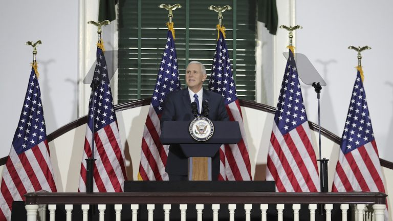 Vice President Mike Pence speaks at Congress Hall in Philadelphia on Saturday Feb. 4