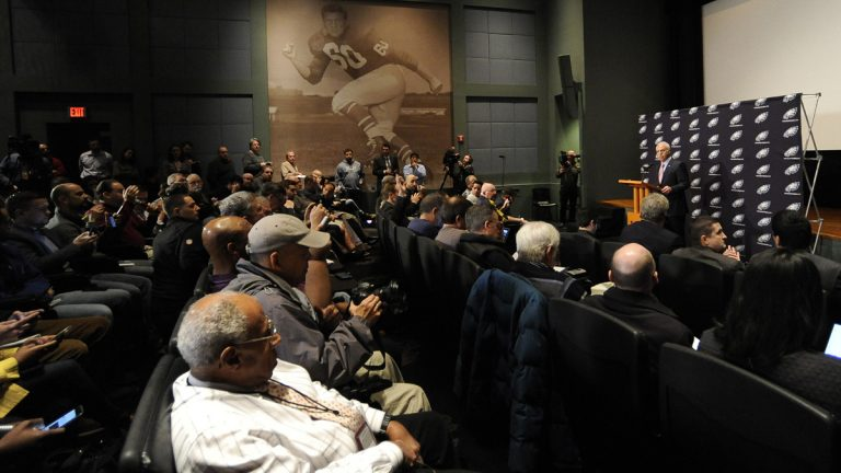 Philadelphia Eagles owner Jeffrey Lurie talks to reporters during an NFL football press conference  Wednesday in Philadelphia. The Eagles fired head coach Chip Kelly with one game left in his third season. (Michael Perez/AP Photo)