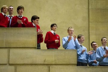 Catholic school students applaud the news in November that  Pope Francis would be in Philadelphia for the World Meeting of Families, a conference held every three years in a different city to celebrate the importance of family. (AP file photo)