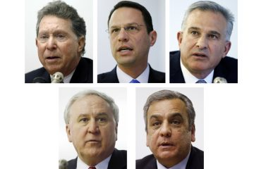Candidates for the Pennsylvania attorney general  are (from top left): Northampton County District Attorney John Morganelli; Montgomery County Commissioner Josh Shapiro; Allegheny County District Attorney Stephen Zappala; state Sen. John Rafferty