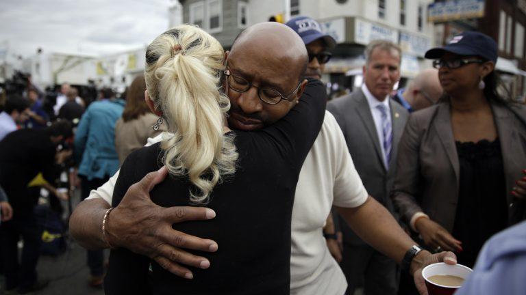 Philadelphia Mayor Michael Nutter hugs Lori Dee Patterson