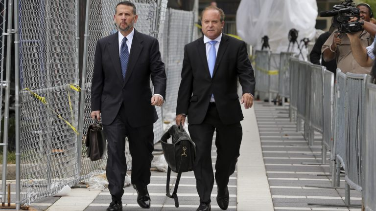 David Wildstein (left) and his attorney Alan Zegas leave Martin Luther King Jr. Federal Courthouse after a hearing