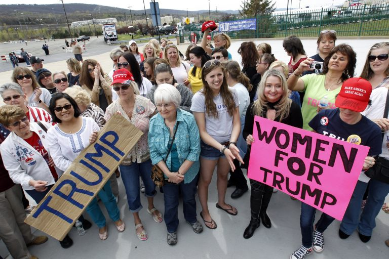 Trump supporters wait outside the candidate's April rally in Wilkes-Barre