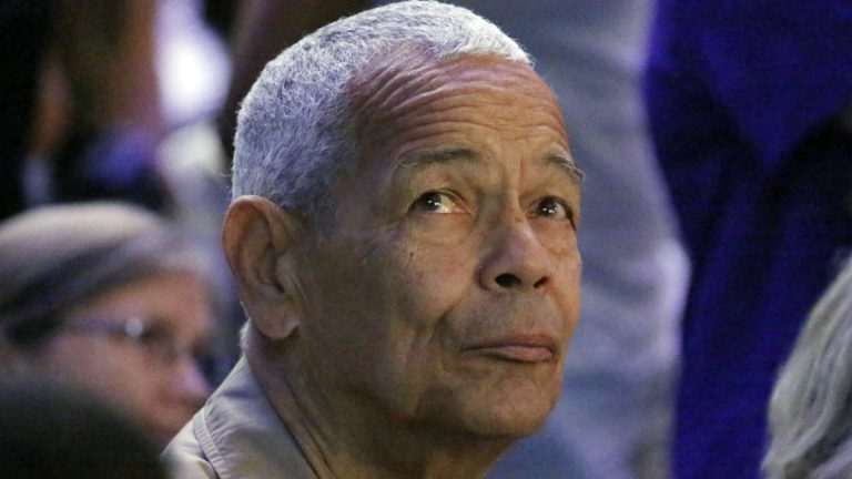Julian Bond, one of the founders of the Student Nonviolent Coordinating Committee and an American social activist, watches a presentation on overhead video screens at the 50th Anniversary Freedom Summer conference at Tougaloo College in Jackson, Mississippi in June 2014. Bond died, whose father was the first black president of Lincoln University, has died at 75. (AP file photo)
