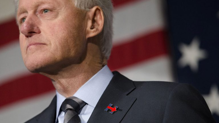 Protesters interrupted a speech by former President Bill Clinton