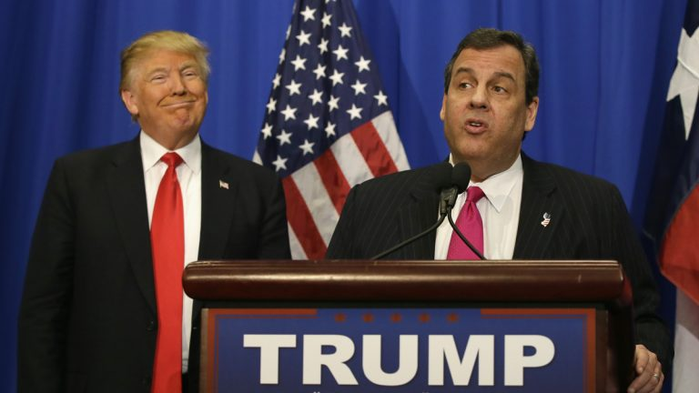 Republican presidential candidate Donald Trump beams as he stands with New Jersey Gov. Chris Christie as the governor endorses the billionaire in his bid to be president. (AP Photo/LM Otero)