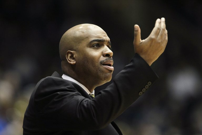 Delaware coach Monté Ross reacts during the first half of an NCAA college basketball game against Duke in Durham