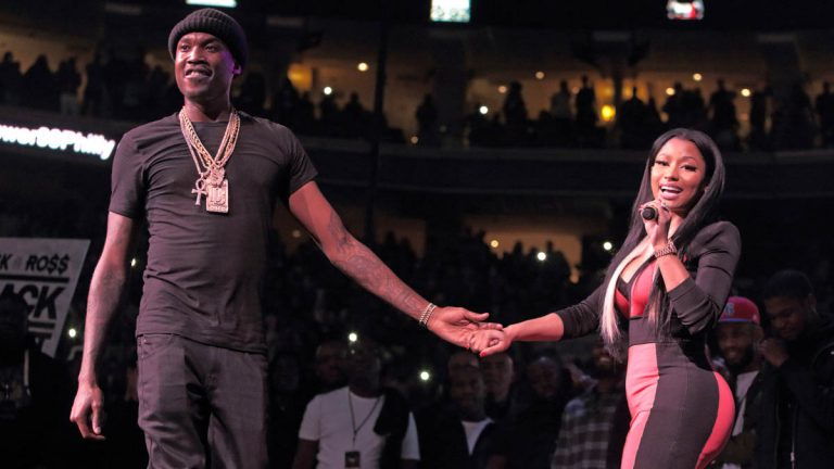 Meek Mill and Nicki Minaj perform at the Wells Fargo Center in October. (Photo by Owen Sweeney/Invision/AP)