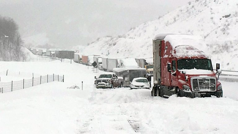 Traffic was at a standstill on the Pennsylvania Turnpike near Bedford, Pennsylvania, on Saturday. (AP Photo/Michael Watkins via AP)